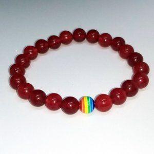 Jewelry - PRIDE BRACELET ❤️ Red w/ Rainbow Bead Cute Jewelry